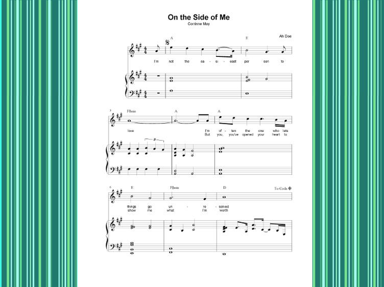 On The Side of Me Printable Piano Music
