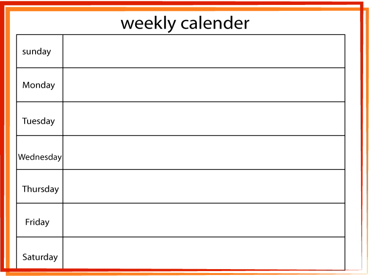 Red-Orange Printable Blank Weekly Calendar