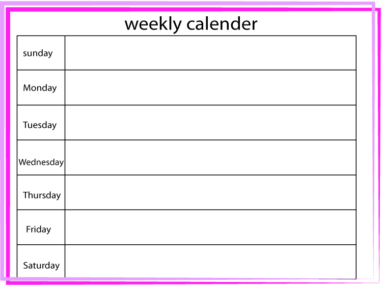 Pink and Purple Blank Weekly Printable Calendar