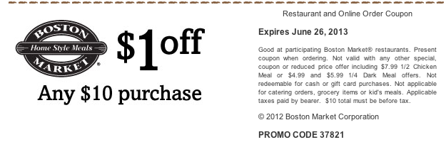 Printable Boston Market Coupon
