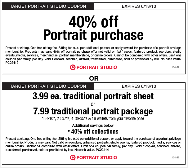 Printable Target Portrait Studio Coupon