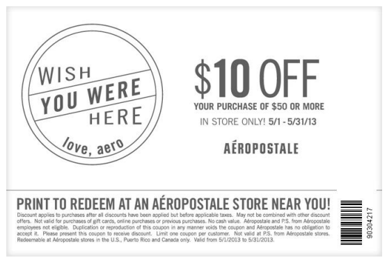 Printable Aeropostale Coupon