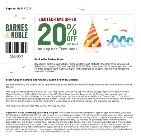 Printable Barnes and Noble Coupon