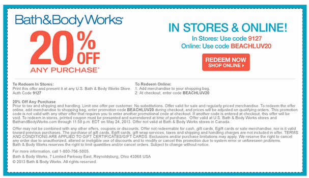 Printable Bath and Body Works Coupon