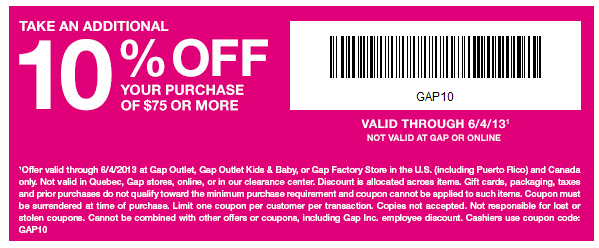 Printable Gap Outlet Coupon