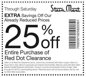 Printable Stein Mart Coupon