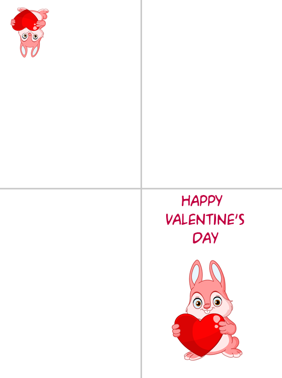 Printable Bunny Happy Valentine's Day Cards