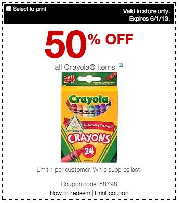 Printable Staples Crayola Coupon