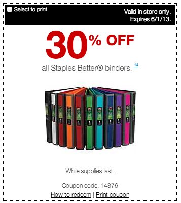 Printable Staples Binder Coupon