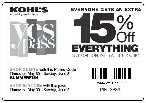 Kohl's Yes Pass Coupon
