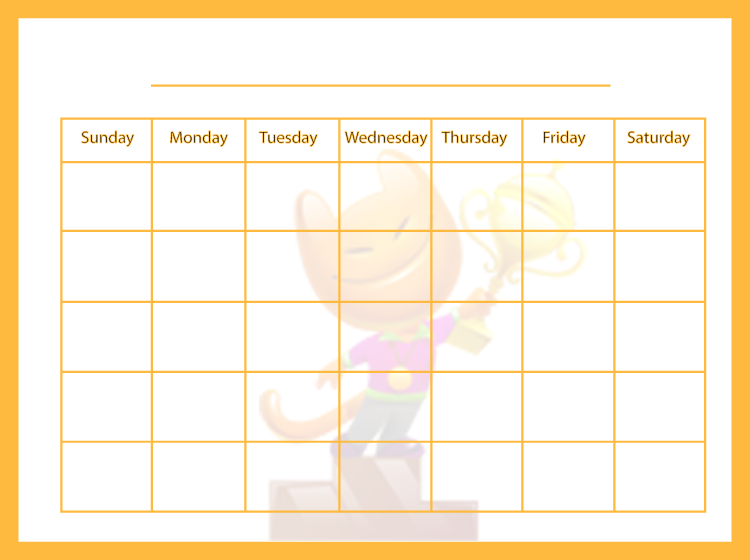 Printable Yellow Blank Calendars