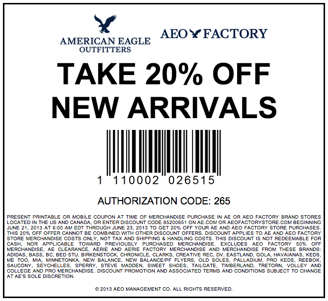 Printable American Eagle Outfitters Coupons