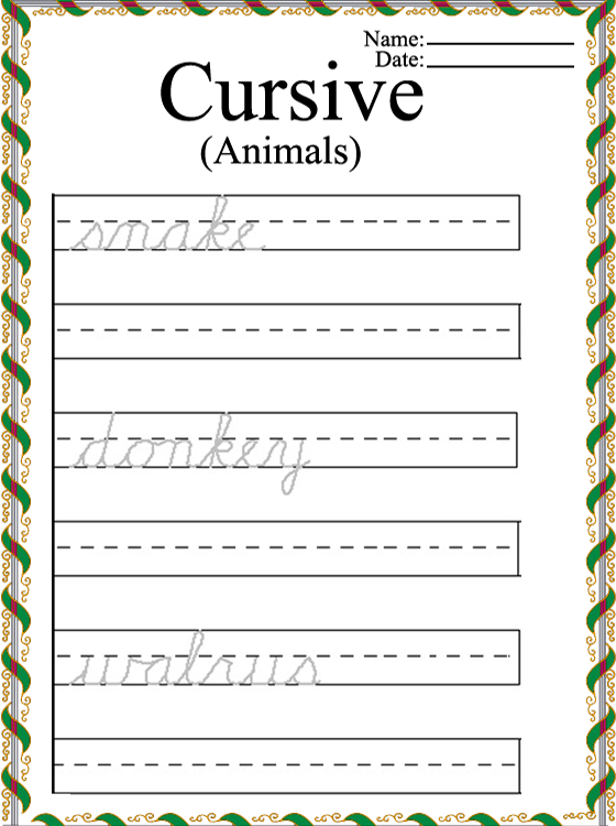 Printable Animal Words Cursive Worksheets
