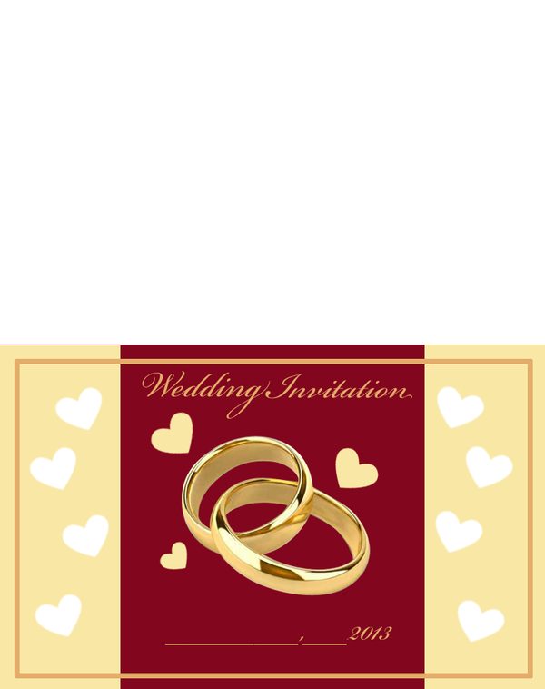Printable Gold Rings Wedding Invitations