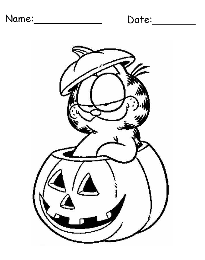 Garfield Halloween Printable Coloring Pages