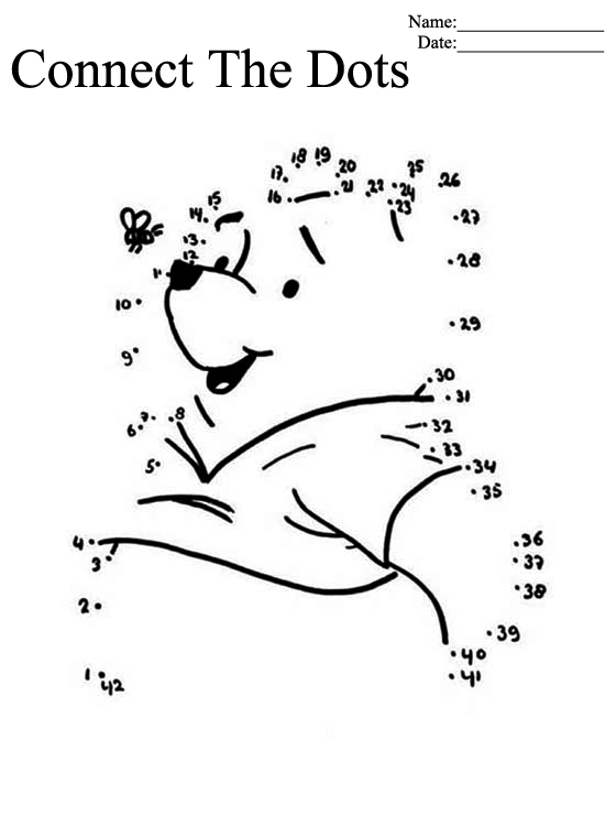 Pooh Bear Connect the Dots Printable Worksheets