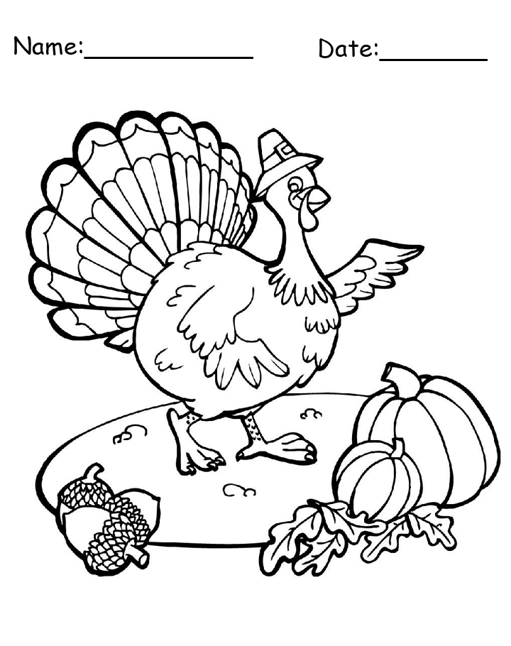 Turkey Printable Thanksgiving Coloring Page