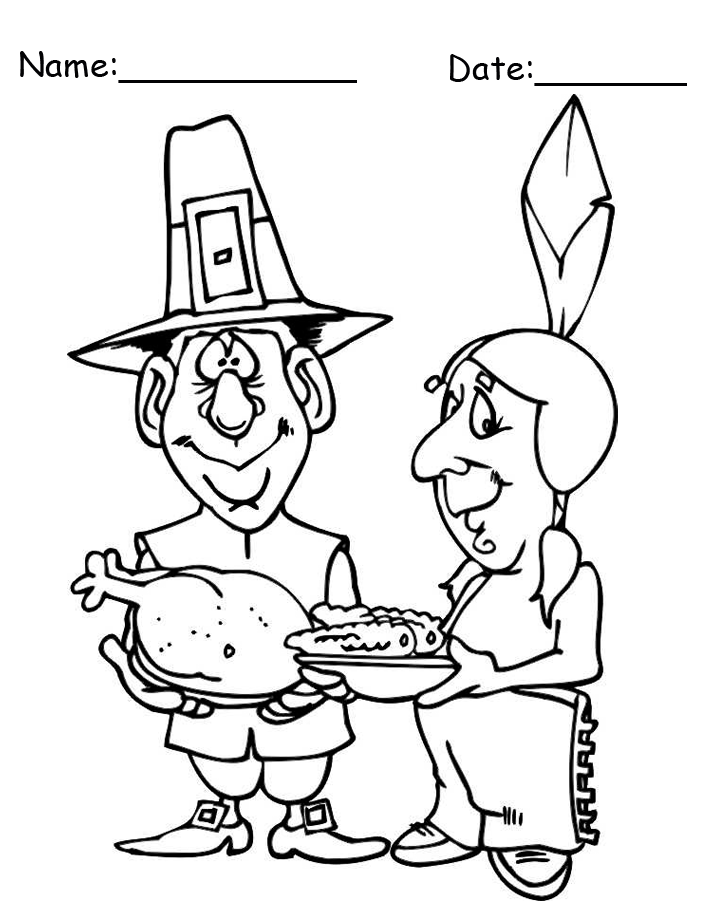 Printable Pilgrim and Native American Thanksgiving Coloring Page