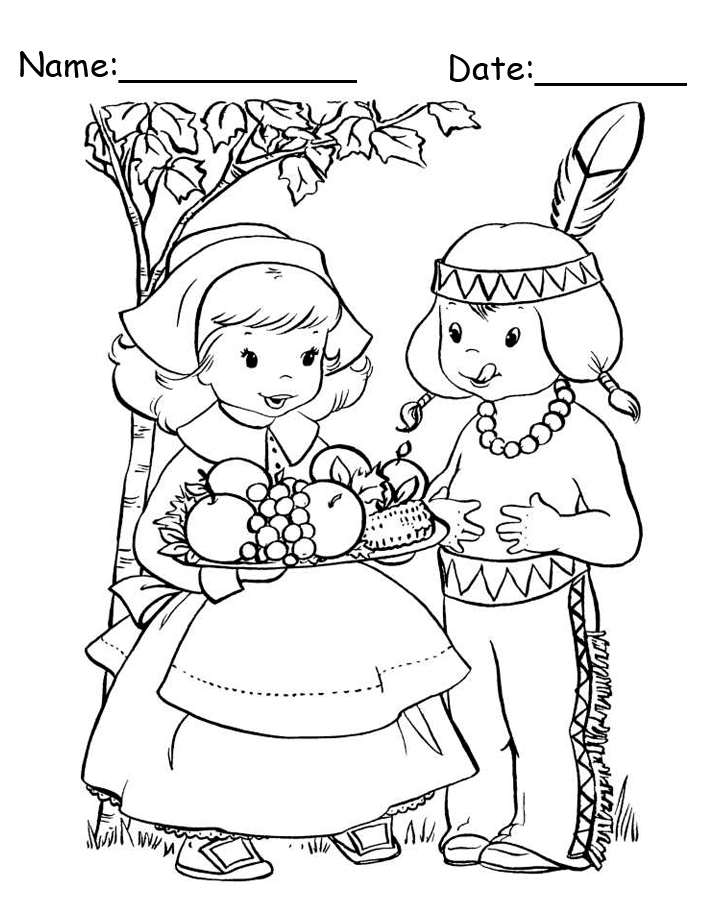 Printable Pilgrim Girl and Indian Boy Thanksgiving Coloring Page