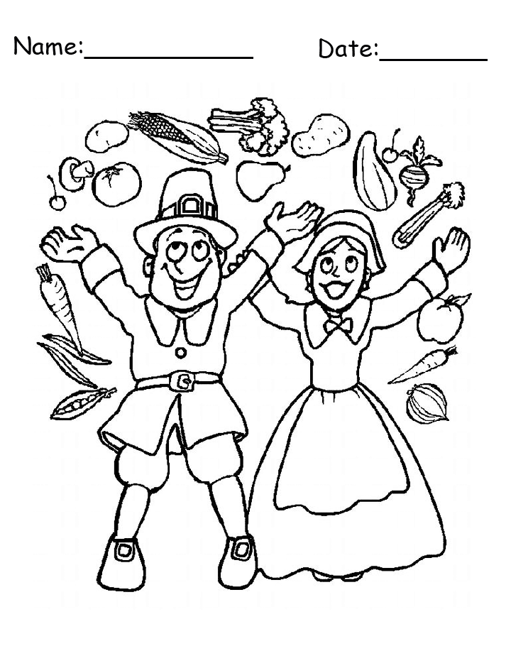 Pilgrims Thanksgiving Harvest Printable Coloring Page
