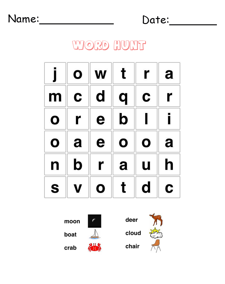 Moon Word Hunt Puzzle Printable Games
