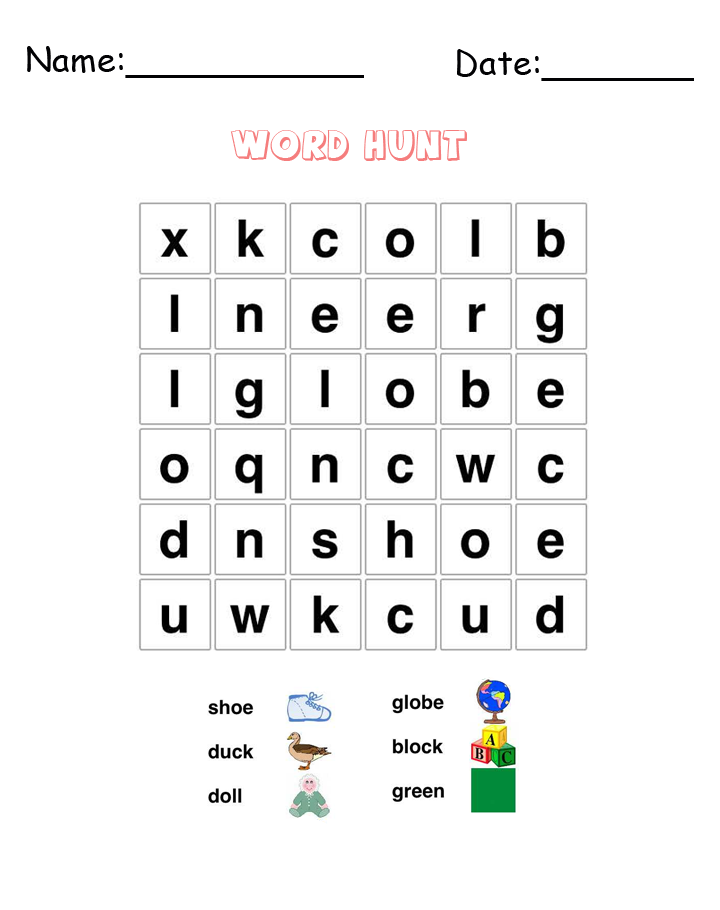 Shoe Word Hunt Puzzle Printable Games