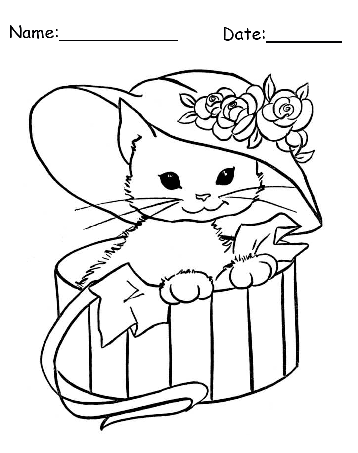Kitten In A Hat Animal Printable Coloring Pages