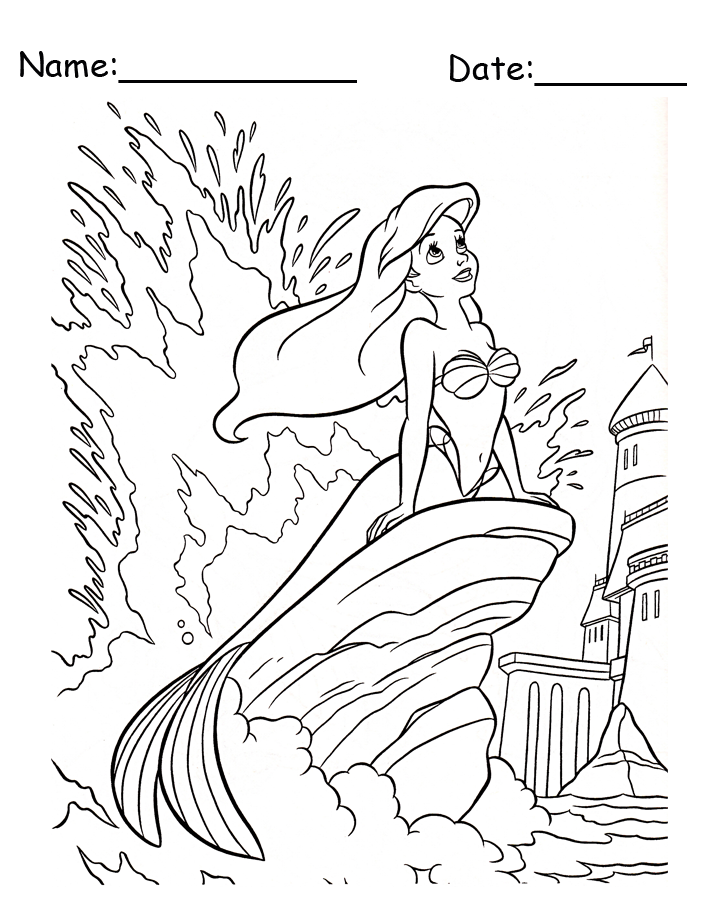 Ariel Sitting On A Rock Disney Printable Coloring Pages
