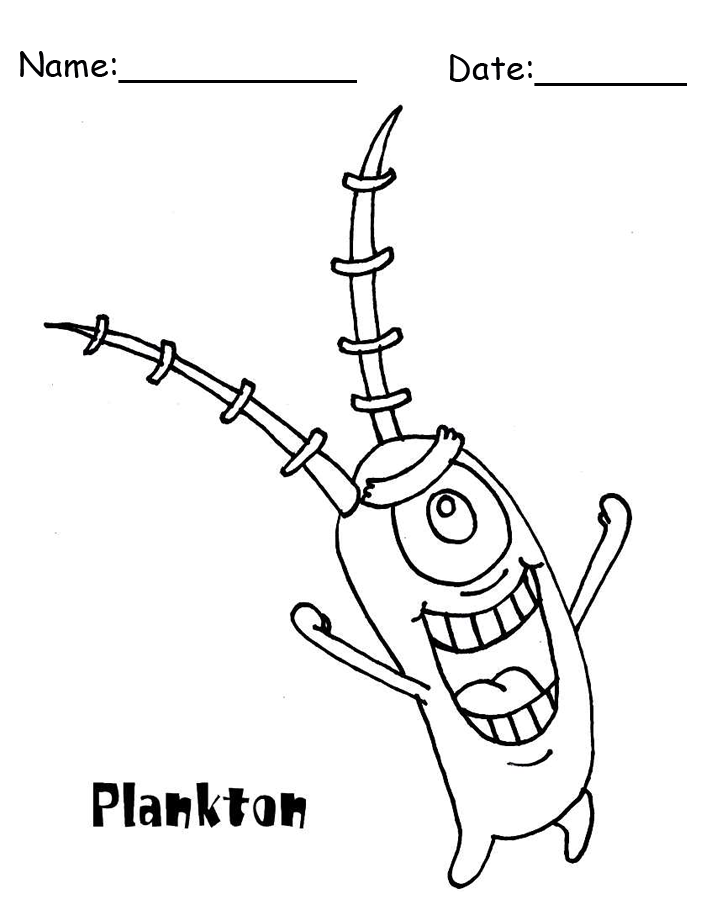 Plankton SpongeBob Printable Coloring Pages