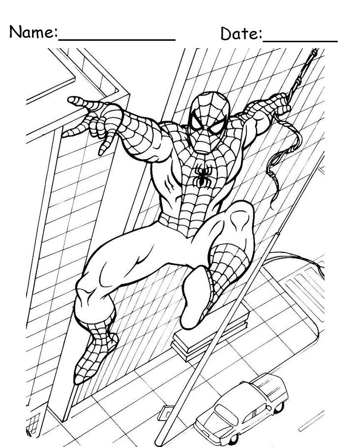 Building Swing Spiderman Coloring Pages