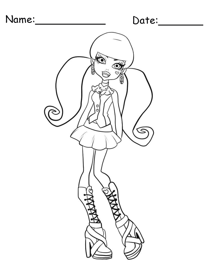 Draculaura Wearing Boots Monster High Printable Coloring Pages