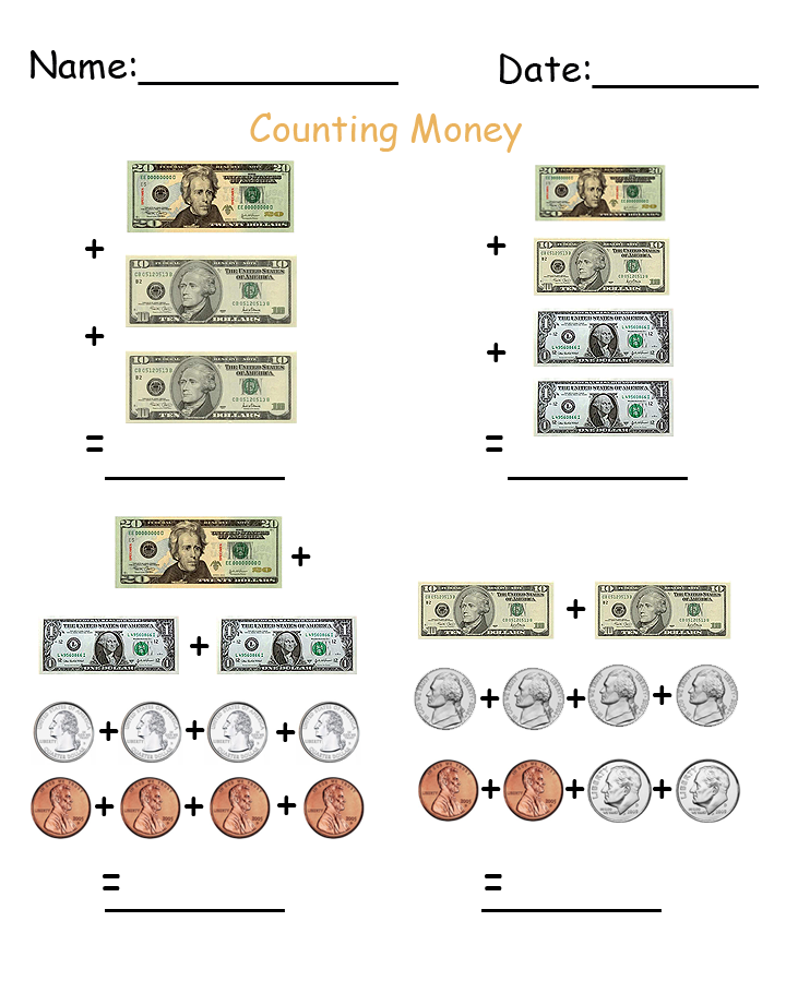 More Counting Money Printable Worksheets