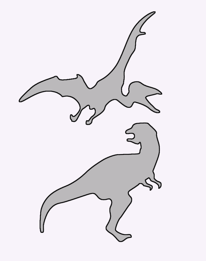 Tyrannosaurus And Pterodactyl Stencils Printable Crafts
