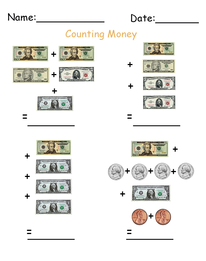 Add Up Money Printable Worksheets