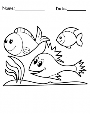 Happy Fish Animal Printable Coloring Pages thumb