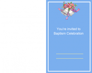 Blue With Bells Printable Baptism Invitations