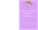Pink With Bells Baptism Printable Invitations