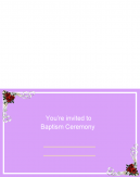 Pink With Roses Baptism Printable Invitations