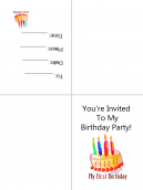 Colorful Cake Birthday Printable Invitations