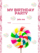 Pink Birthday Party Invitation Card