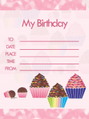 Printable Cupcake Birthday Party Invitations