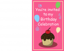Printable Pink Cupcake Birthday Invitation