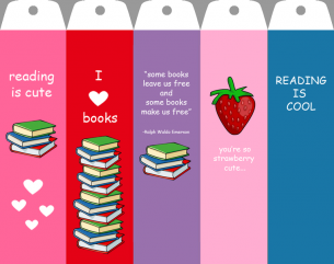 Printable Pink Strawberry Bookmarks