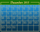December Blue Printable Calendar Template