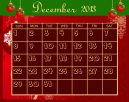 December Red Printable Calendar Template