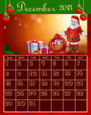 Santa Claus December Printable Calendar Template