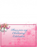 Pink Floral Printable Christening Invitation Crosswise