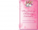 Pink Floral Printable Christening Invitation Lengthwise