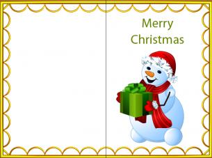 Printable Christmas Card.Printable Yellow Border Happy Snowman Christmas Card