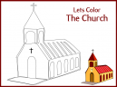 Brown Border Let's Color the Church Printable Worksheet